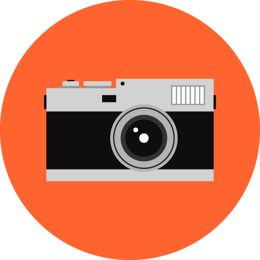 Flat vector image of a retro camera